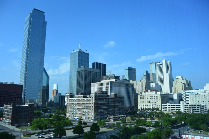 The Dallas, Texas skyline from our hotel room